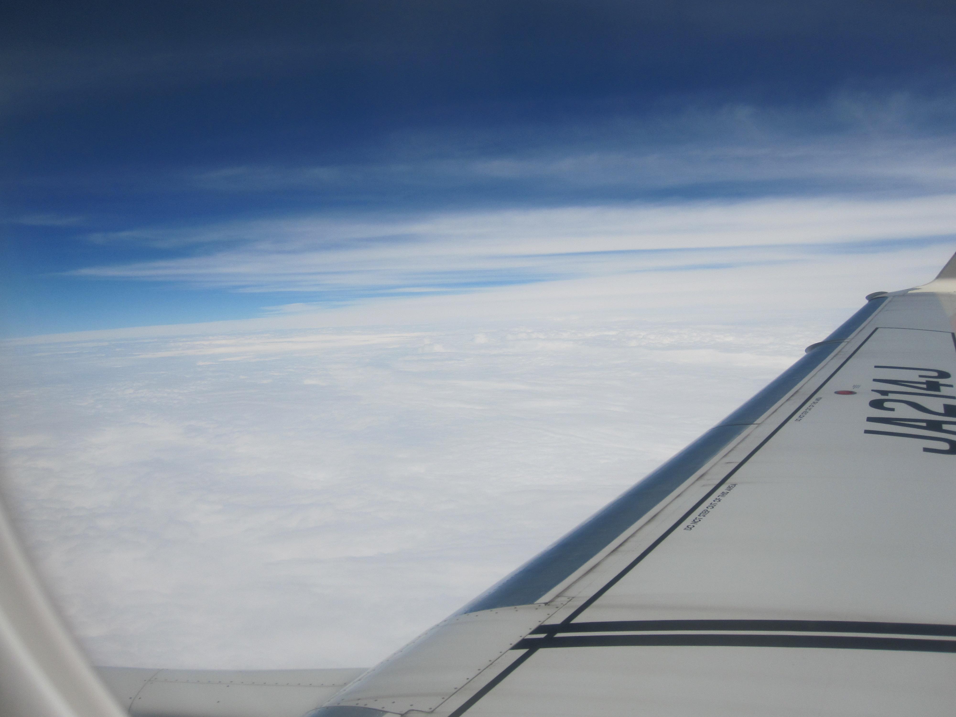 飛行機に乗って北海道まで