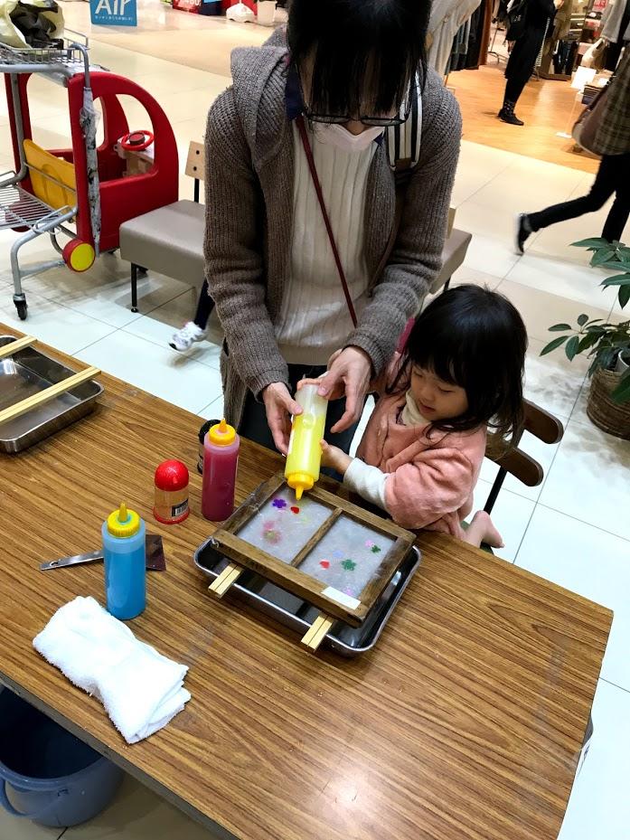 武生の楽市で和紙漉き体験イベントがあった