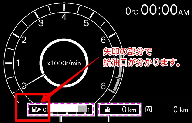 給油メーターの矢印の向きで給油口の場所が分かります。仕事もちょっとした知識をお伝えすることが大切。