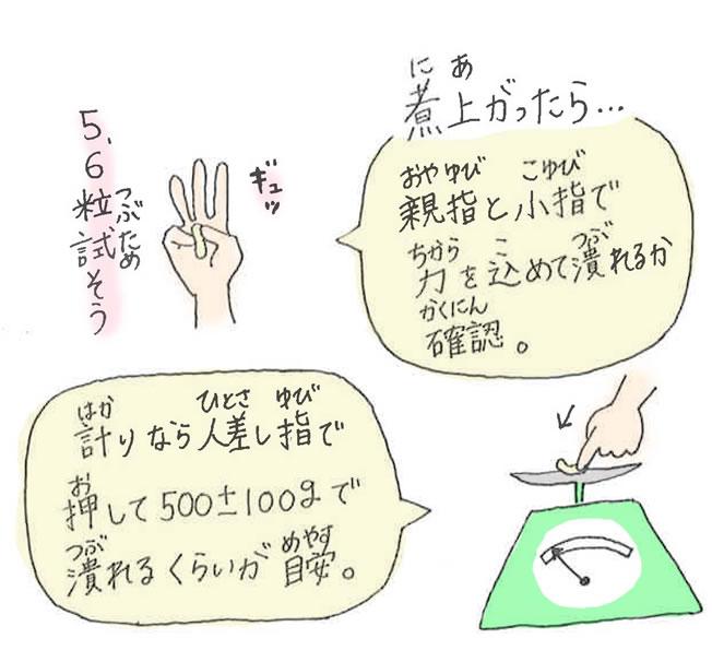親指と小指で力を込めて潰れるか確認